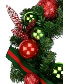 Red & Green Wreath With Baubles & Striped Ribbon - 48cm