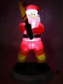 Batsman Santa Tipping One Over The Wicky Illuminated Inflatable  - 1.8m