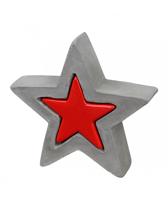 Ceramic & Concrete Look Double Star Standing Ornament in Red & Grey - 13cm