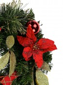 Red & Gold Wreath With Poinsettias, Baubles, Leaves & Gold Tips - 45cm