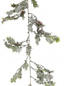 Frosted Christmas Holly Leaves & Berries Vine Garland - 1.8m