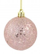 Pink Metallic Sequins & Glitter Coated Baubles - 4 x 80mm