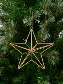 Gold Glittered 3D Wire Framed Five Point Star Hanging Decoration - 16cm