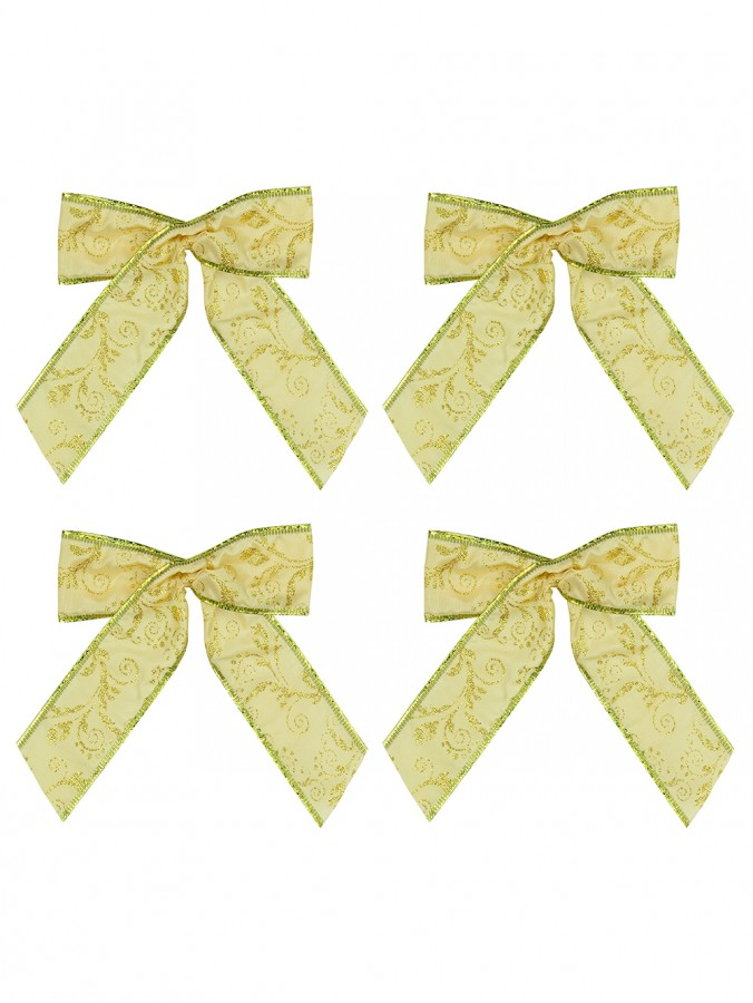 Gold Fabric With Gold Glitter Pattern Fabric Bows - 6 x 15cm