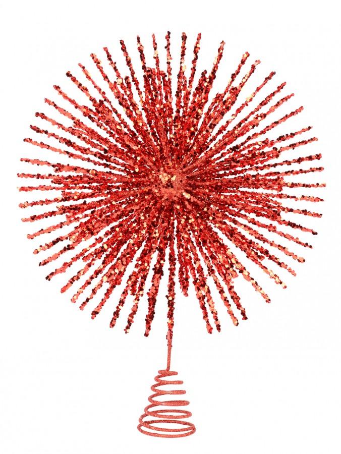 Red Glitter Starburst Christmas Tree Topper - 38cm