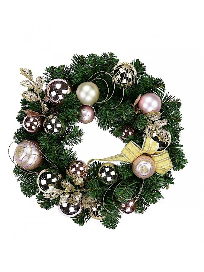 Champagne & Pink Wreath With Ribbon - 45cm