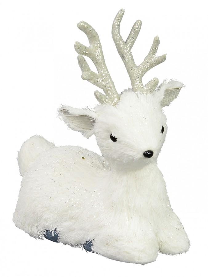 Sitting White Pine Needle Style Reindeer - 20cm