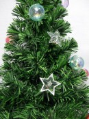 Multi Colour With Bauble & Star Decorations Fibre Optic Tree - 90cm