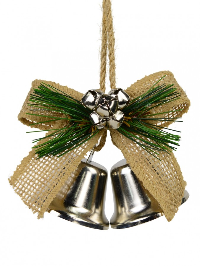 Silver Chrome Double Bells with Hessian Bow & Greenery Hanging Ornament - 12cm