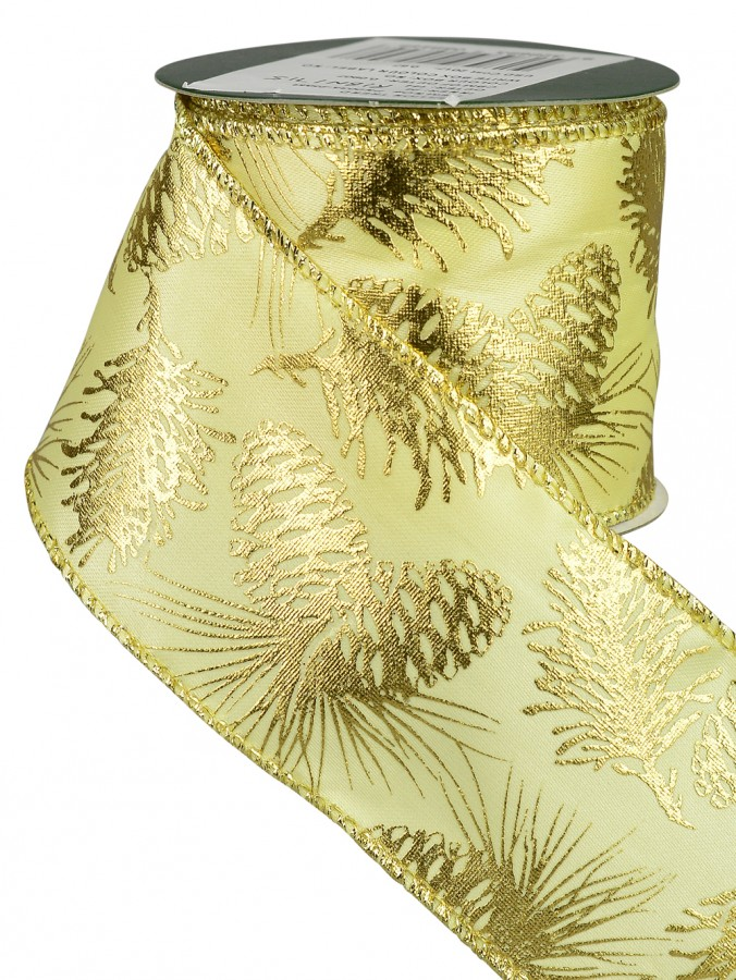 Gold & Champagne Pine Cone Design Ribbon - 3m