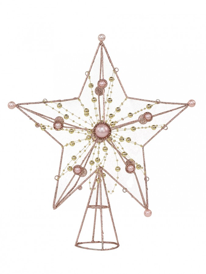 Pink Glitter 3D Star Tree Topper With Silver String Beads & Bathed Pearls - 33cm