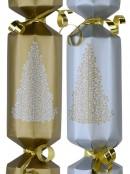 Silver & Gold With Christmas Trees Christmas Cracker Bon Bons - 50 x 26cm