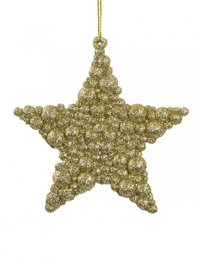 Glittered Champagne Bubble Textured Star Hanging Decoration - 95mm