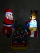 Santa & Reindeer On Animated & Illuminated Seesaw Inflatable - 1.3m