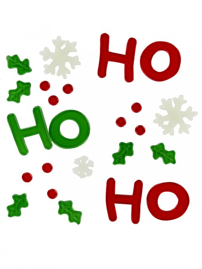 Ho Ho Ho, Snowflakes & Holly Gel Window Cling Christmas Decoration - 17cm