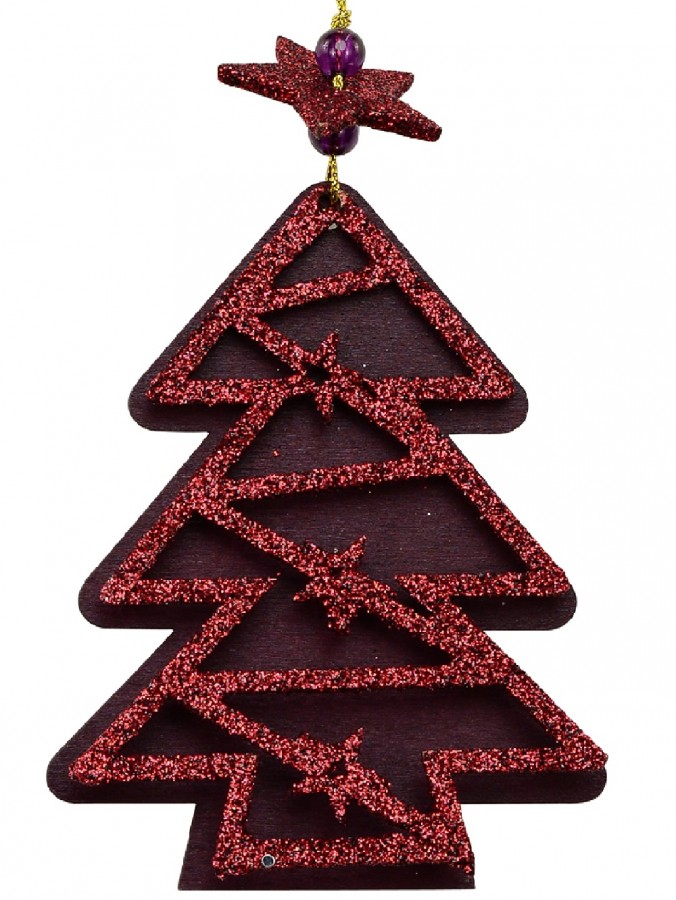 Red Natural Wood With Glitter Christmas Tree Hanging Decoration - 11cm