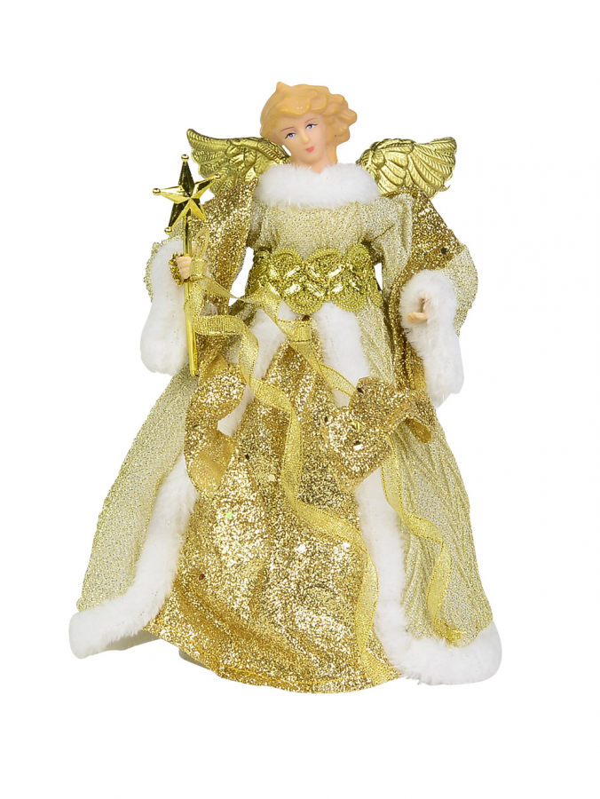 Gold Decorative Angel With Wings Holding Wand - 22cm