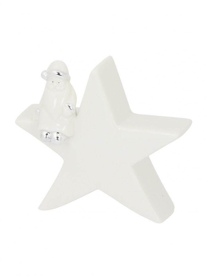 Star With Santa In White Gloss & Silver Ceramic Christmas Ornament - 16cm