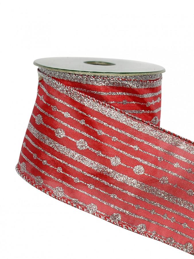 Silver Line & Dot Pattern On Red Ribbon - 3m