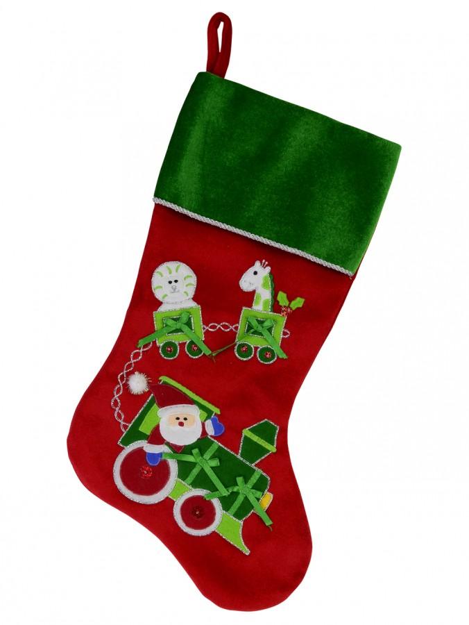 Red & Green Kids Velvet Stocking With Santa & Animal Train Applique - 46cm