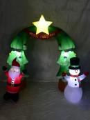Santa & Snowman Christmas Tree Archway Illuminated Inflatable - 2m