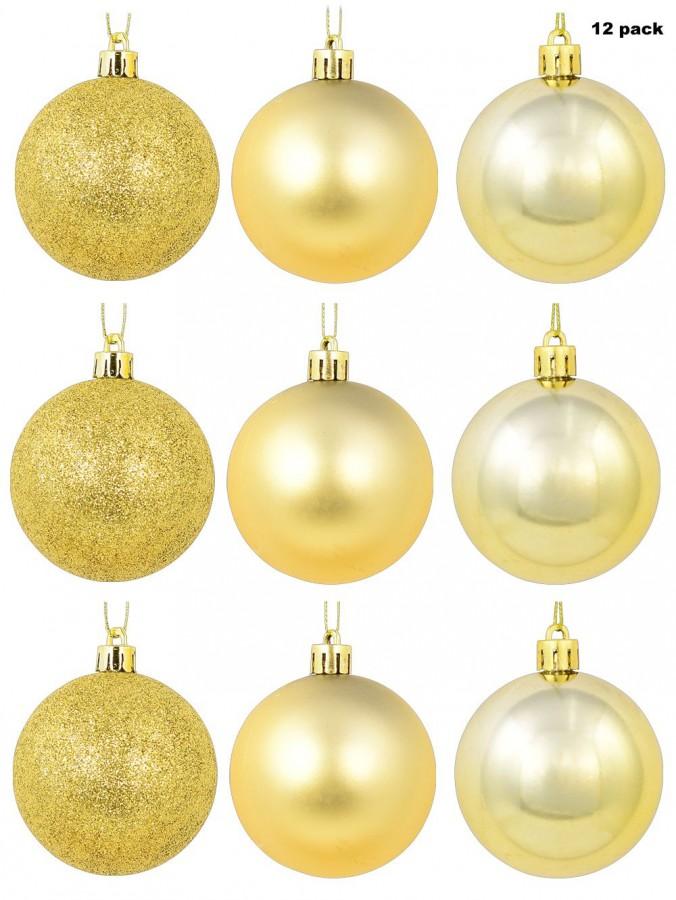 Gold Matte, Metallic & Glittered Baubles - 12 x 60mm