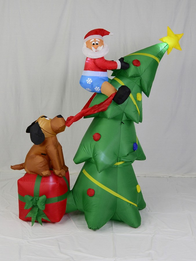 Santa Caught Up A Tree With Dog On Gift Illuminated Inflatable - 1.8m