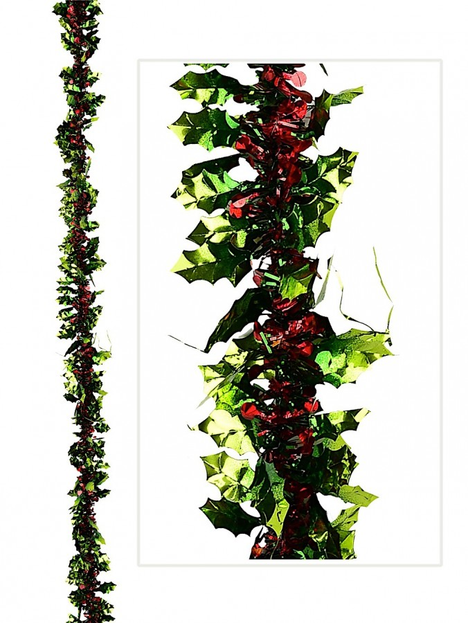 Red & Green Holly Themed Tinsel Garland - 2.7m