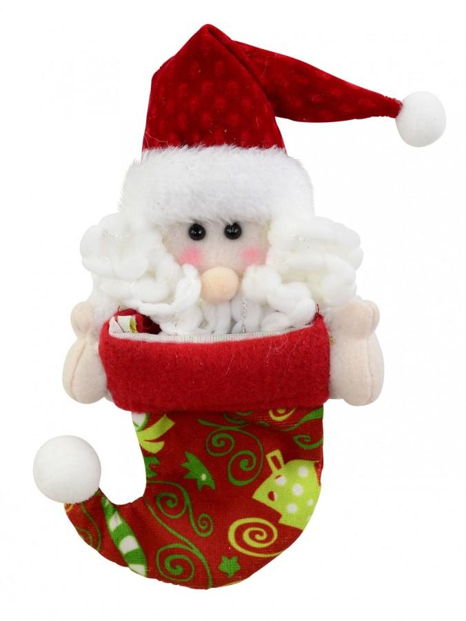 Red Stocking With Christmas Print & Santa Peeking Hanging Ornament - 18cm
