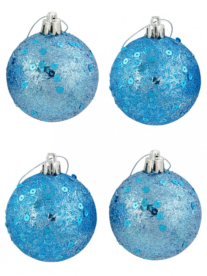 Turquoise Glittered & Sequin Baubles - 6 x 60mm