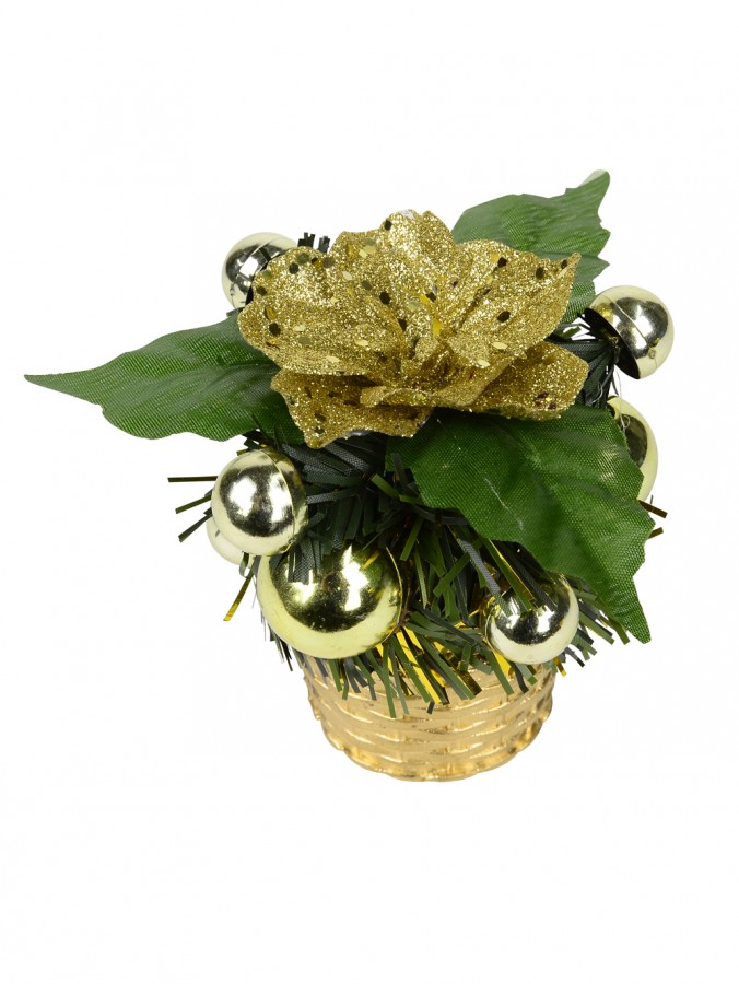 Gold Woven Basket With Greenery & Gold Flower Table Top Ornament - 10cm