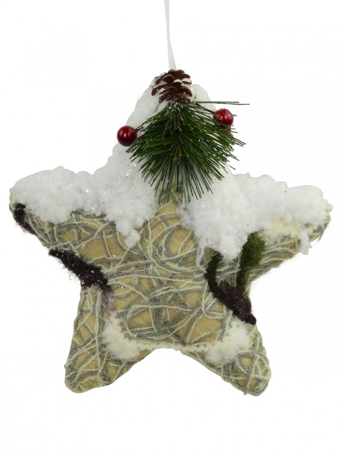 Fabric Decorated 3D Winter Star - 15cm