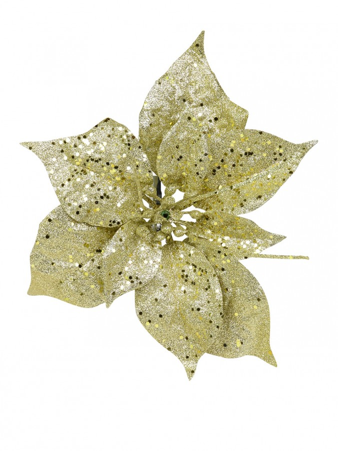 Champagne / Gold Poinsettia Pick - 17cm