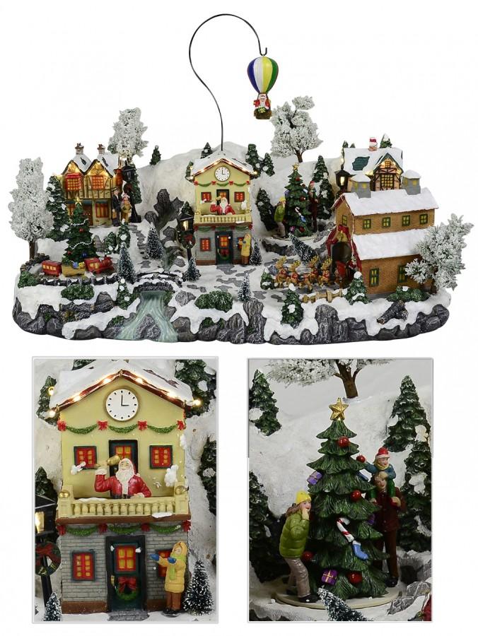 Illuminated animated amp musical north pole village scene ornament
