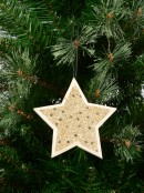 Wood Star With Gold Glitter & Stars Christmas Tree Hanging Decoration - 12cm