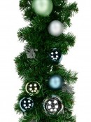 Decorated Blue, Silver & Mint Baubles & Silver Ferns Pine Garland - 2.3m