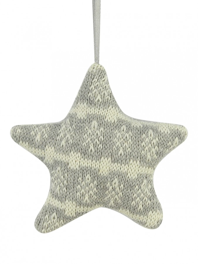 Grey Knitted Fabric Star With Snowflake Pattern Hanging Ornament - 11cm