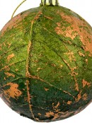 Green Leaf Like Baubles With Bronze Detailing - 2 x 80mm