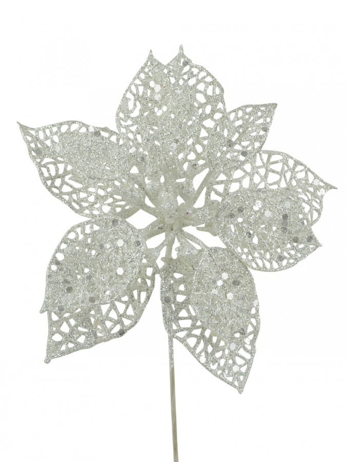 White Iridescent Filigree Decorative Poinsettia Floral Pick - 17cm