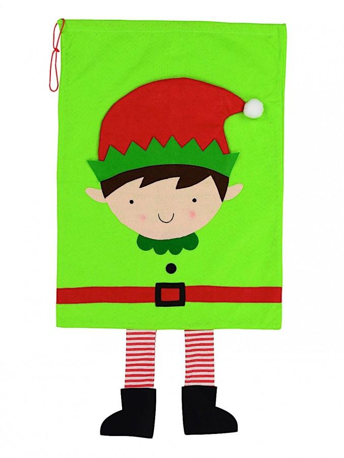 Elf With Dangling Legs Green Santa Sack - 90cm