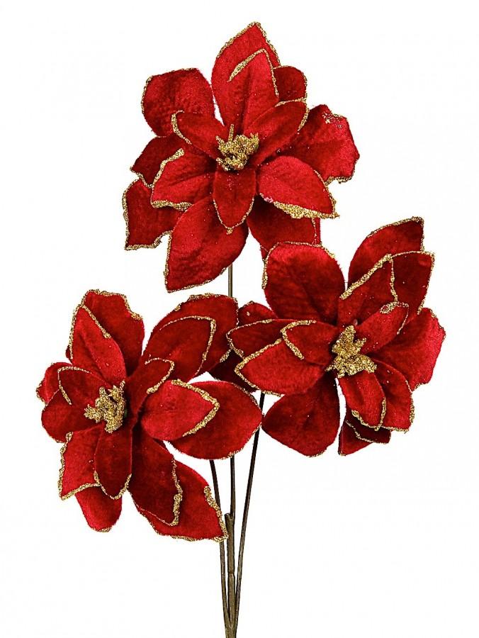 Red Velvet Poinsettia Sprays On Single Stem - 35cm