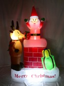 Up & Down Santa in Chimney - Inflatable & Illuminated 1.8m