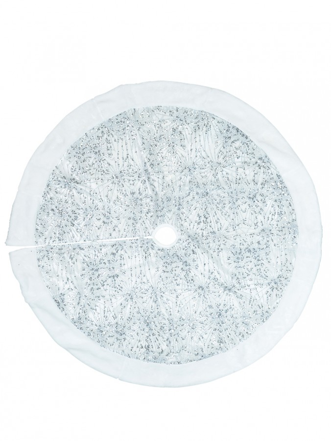 White With Silver Sequin Starburst Pattern & Fur Trim Tree Skirt - 1.2m