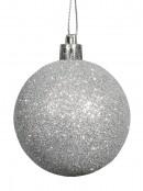 Silver Swirl Pattern & Glittered Baubles - 9 x 60mm