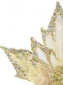 Soft Gold Decorative Poinsettia Floral Pick With Diamante Detail - 23cm