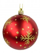Red Baubles With Gold Glitter Stripes & Snowflake Print - 8 x 80mm