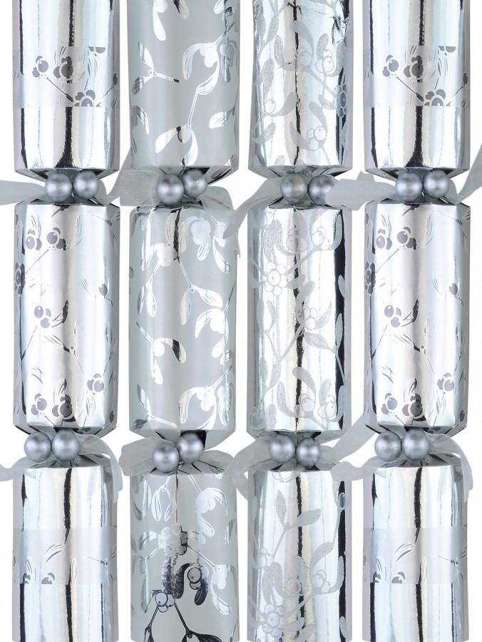 Silver & White With Berry Vine Design Christmas Cracker Bon Bons - 6 x 36cm