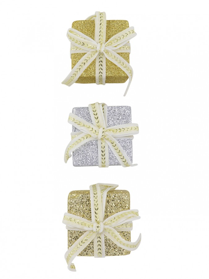 Silver & Gold Gifts Hanging Ornaments With Ivory & Gold Ribbon - 3 x 60mm