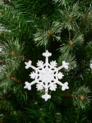 White With Silver Glitter Snowflake Hanging Ornament - 12cm