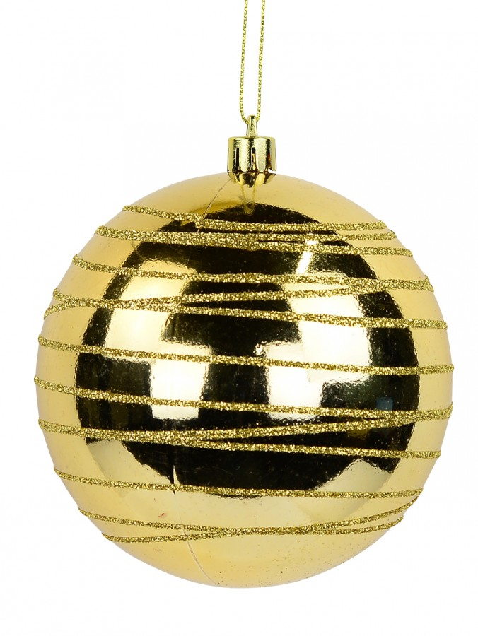 Gold Gloss Bauble with Thin Gold Glitter Cross Lined Design - 10cm